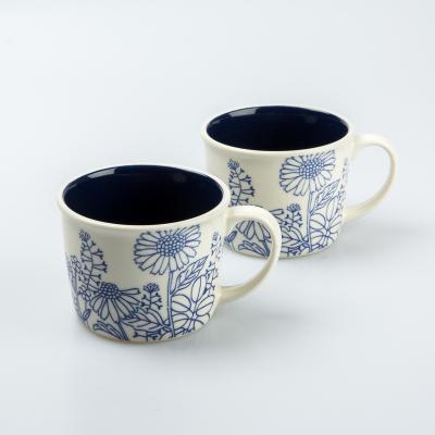 日本AITO美浓烧陶瓷茶水杯马克杯2件套 【plants&plants】蓝白