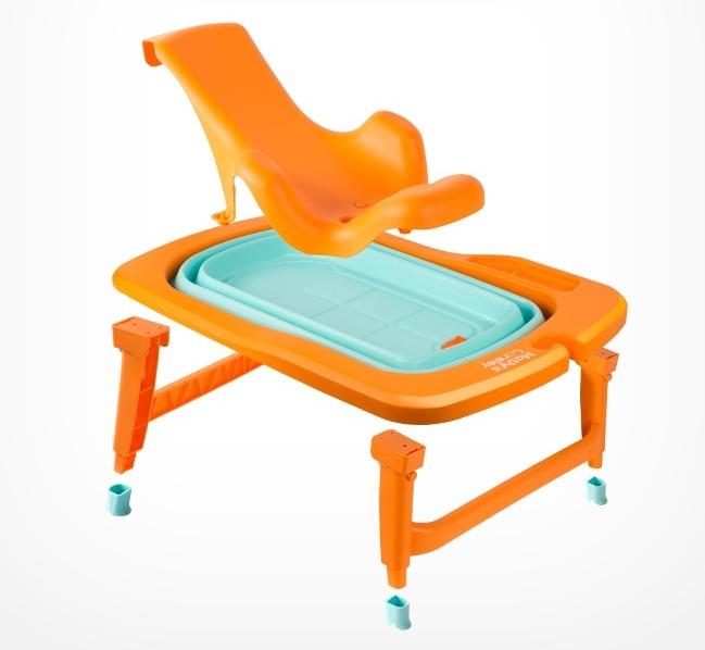 韩国原产MathosLoreley 婴儿浴盆澡盆便携感温可折叠浴盆