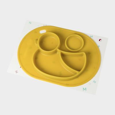 韩国原产MathosLoreley 一体式硅胶餐盘防滑餐垫小鸭子