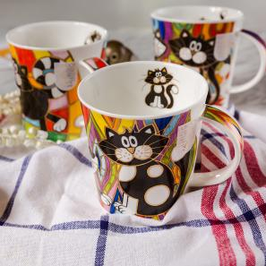 DUNOON 英国丹侬DUNOON骨瓷杯马克杯魔力小喵系列菱形背景