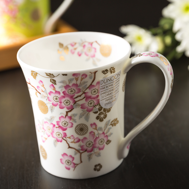 DUNOON 英国DUNOON丹侬骨瓷杯马克杯樱花/白底
