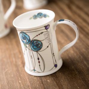 DUNOON 英国丹侬Dunoon骨瓷杯马克杯玫瑰/蓝色