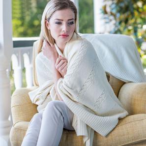 新西兰Merinomink美利奴羊毛驼羊毛混纺女士针织麻花披肩 乳白