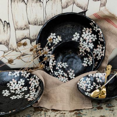 日本AITO美浓烧陶瓷碗碟7件套 【宇野千代淡墨樱花】黑色