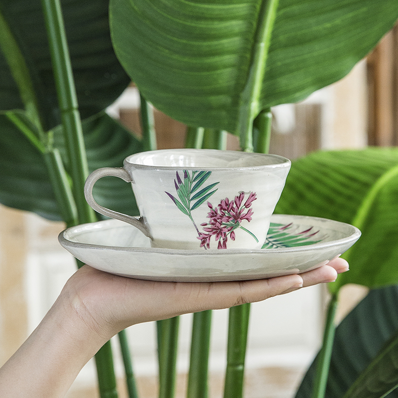 日本AITO濑户烧陶瓷茶水杯茶盘托 【抚松庵系列】百子莲