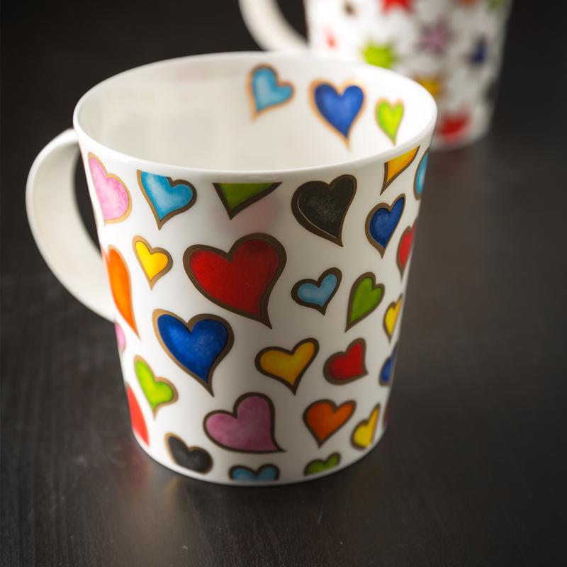 DUNOON 英国DUNOON丹侬骨瓷杯马克杯金心彩色