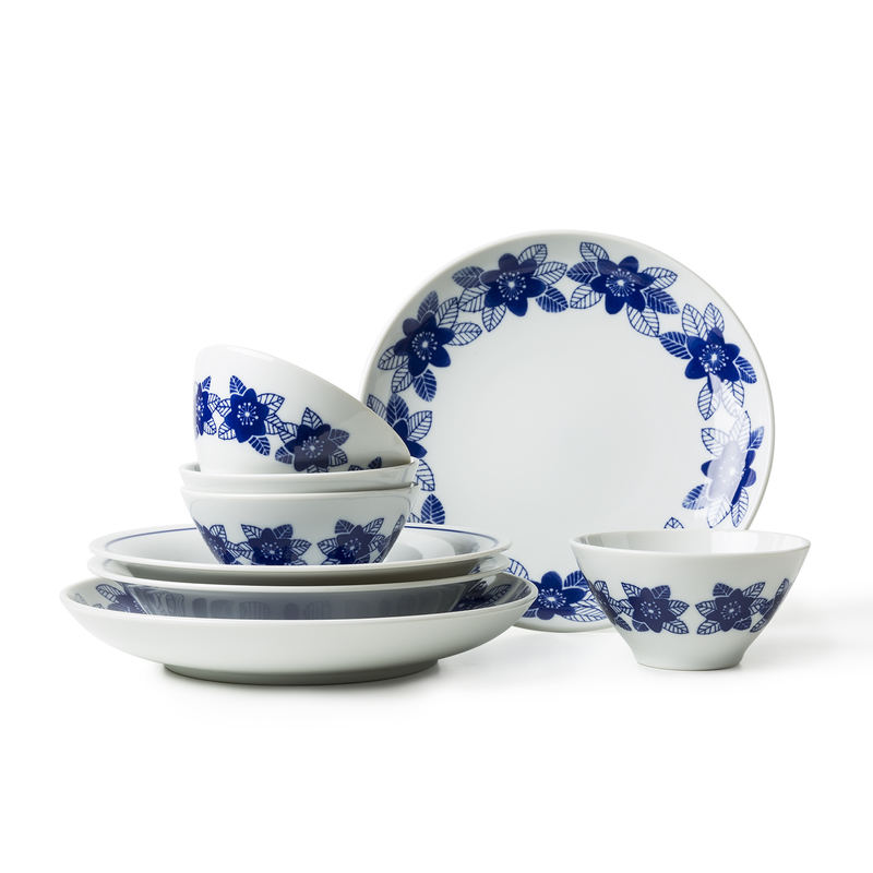 日本AITO雪割草美浓烧陶瓷餐具八件礼盒套装 蓝色