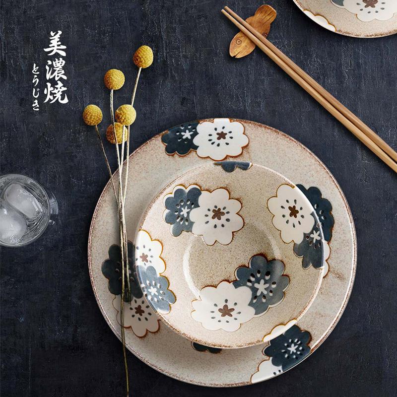 AITO美浓烧陶瓷碗碟套装 【Nordic-Flower四季餐桌系列】冬雪