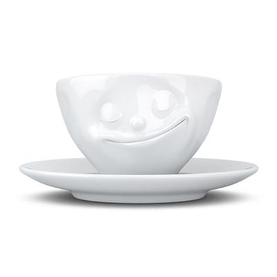 德国原产FIFTYEIGHT TASSEN,陶瓷卡通表情碗咖啡碗咖啡杯200ml幸福