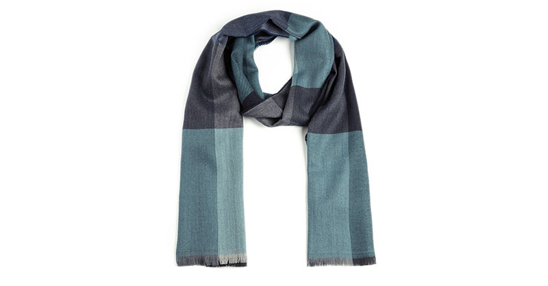 意大利原产MA.AL.BI.羊毛围巾女士围巾蓝黑色