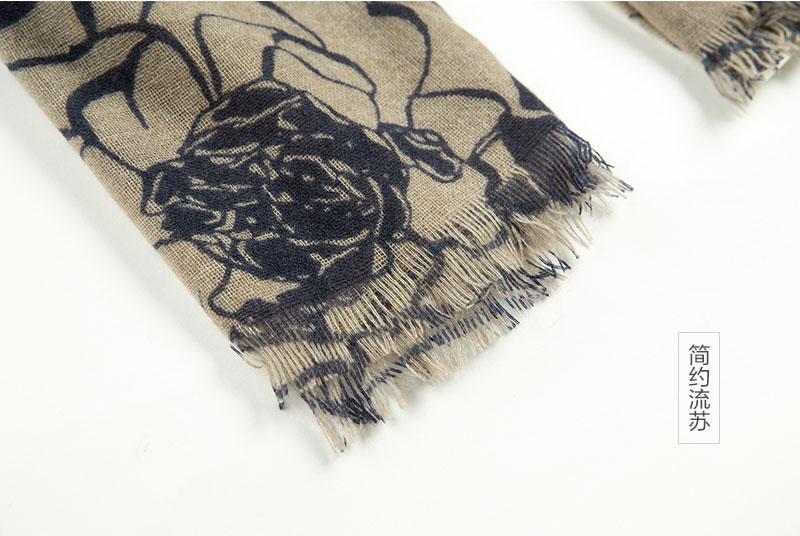 意大利原产MA.AL.BI.羊绒围巾女士围巾 棕色流苏