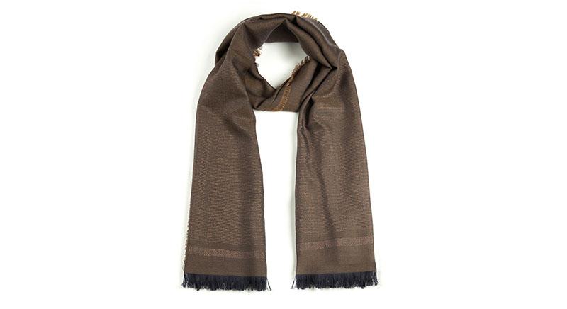 意大利原产MA.AL.BI.羊毛围巾咖啡色正面