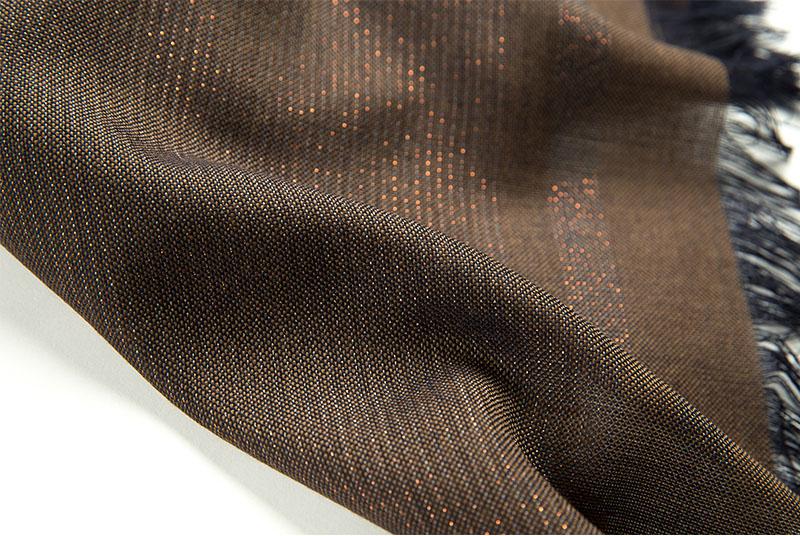 意大利原产MA.AL.BI.羊毛围巾咖啡色走线工整