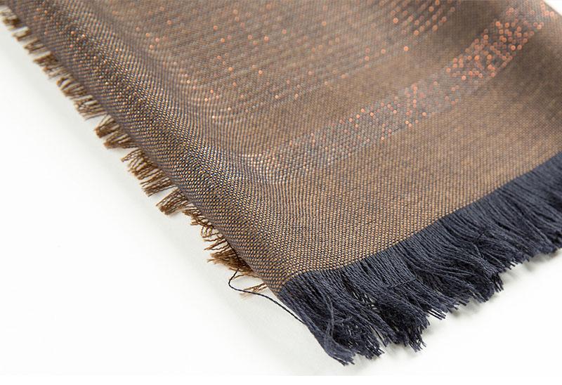 意大利原产MA.AL.BI.羊毛围巾咖啡色简约流苏