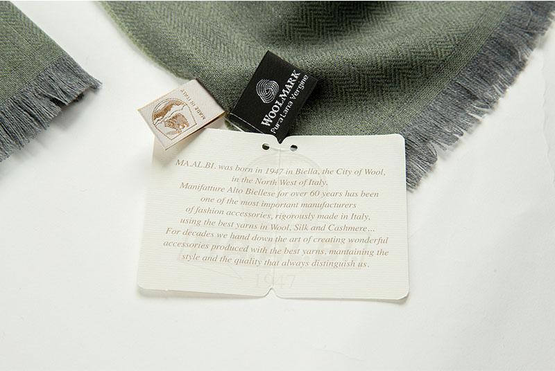 意大利原产MA.AL.BI.羊毛围巾纯新羊毛标志
