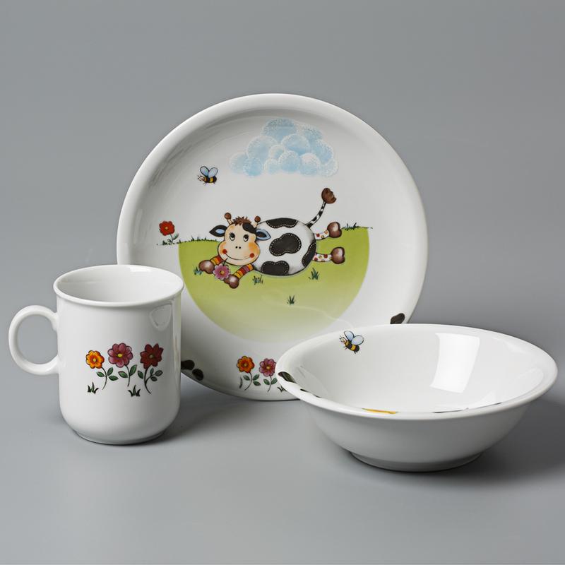 德国Seltmann Weiden陶瓷儿童3件套 儿童餐具套装小奶牛