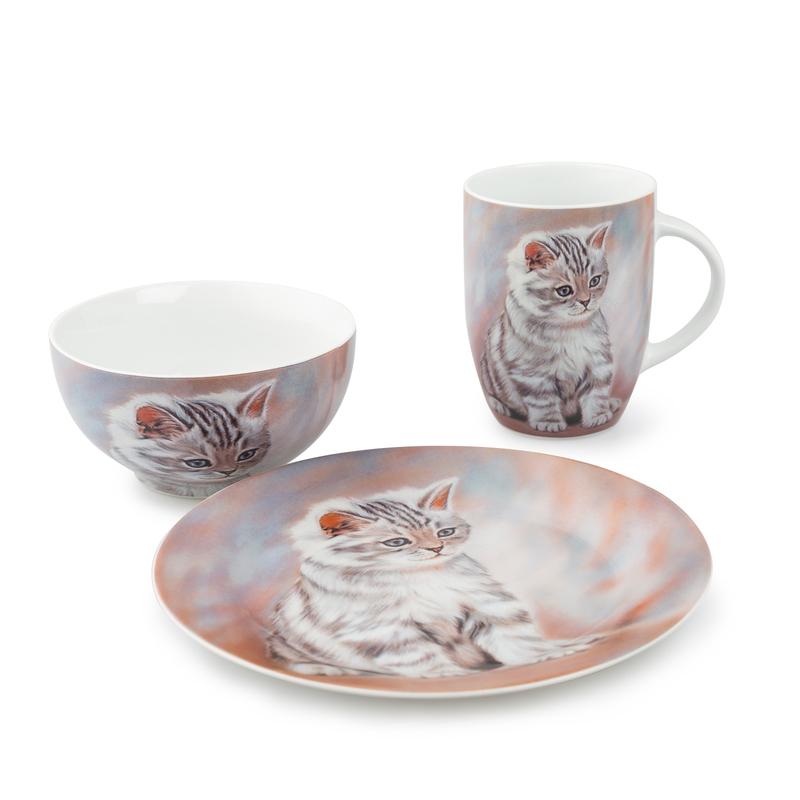 德国原产KOENITZ酷尼子 瓷器陶瓷虎纹小猫餐具3件套