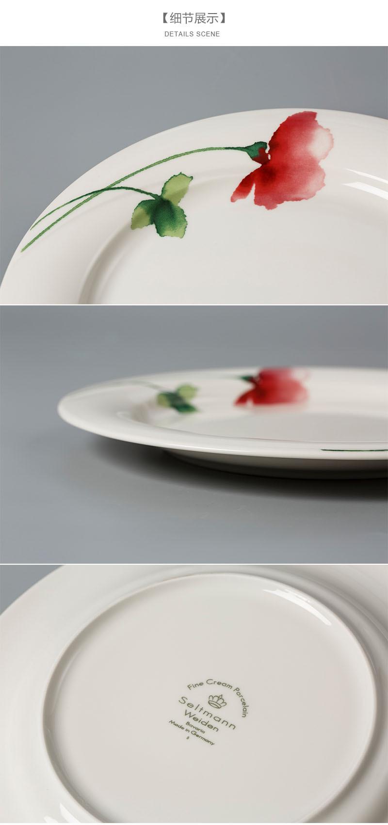 Seltmann Weiden绿叶红花汤盘细节展示
