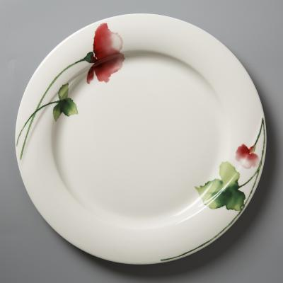 德国Seltmann Weiden陶瓷汤盘汤碗  绿叶红花系列26cm