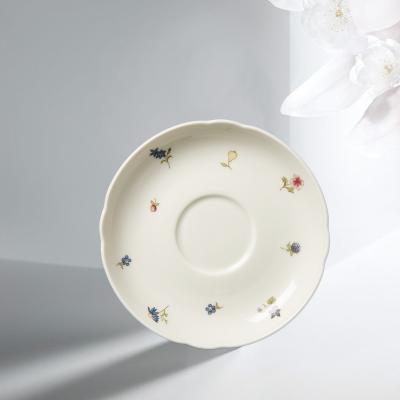 德国Seltmann Weiden陶瓷茶杯垫盘  彩色小花盘子15cm白色