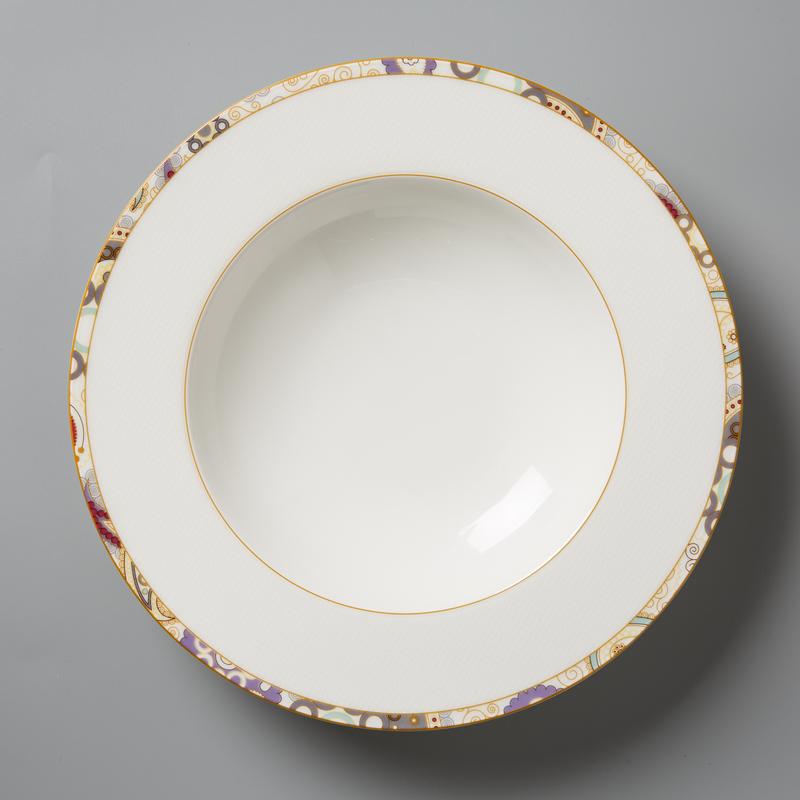 德国原产Seltmann Weiden陶瓷西餐汤盘 佩斯利图案系列23cm