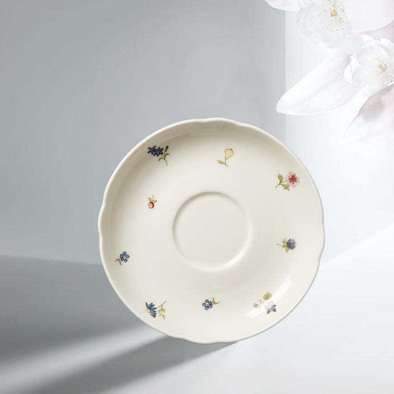 德国原产Seltmann Weiden陶瓷茶杯垫盘 彩色小花14.5cm盘子