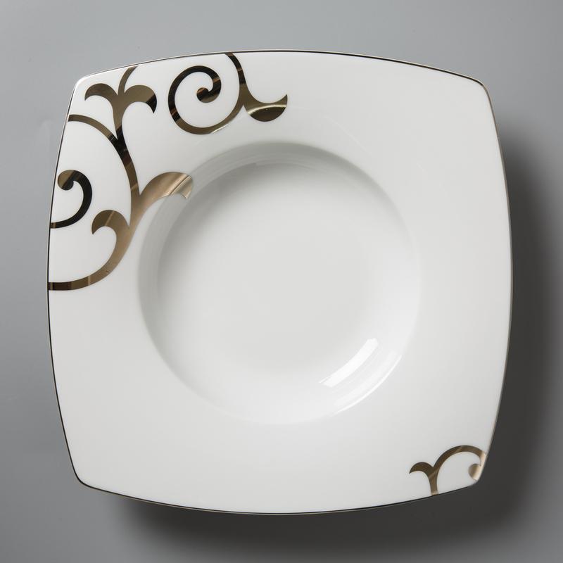 德国Seltmann Weiden餐盘 铂金印花瓷西餐具24.5cm