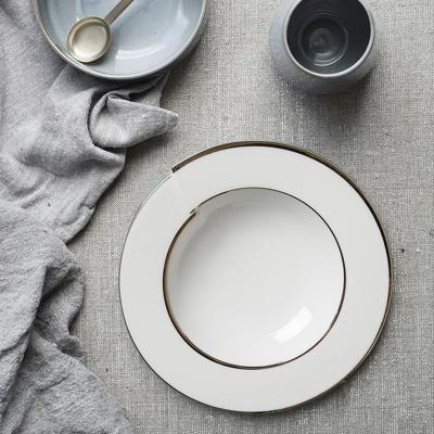 德国原产Seltmann Weiden汤盘  铂金立体镶边陶瓷西餐汤碗23cm