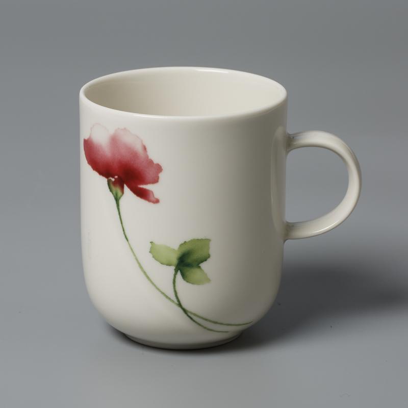 德国原产Seltmann Weiden陶瓷茶杯水杯 绿叶红花系列250ml