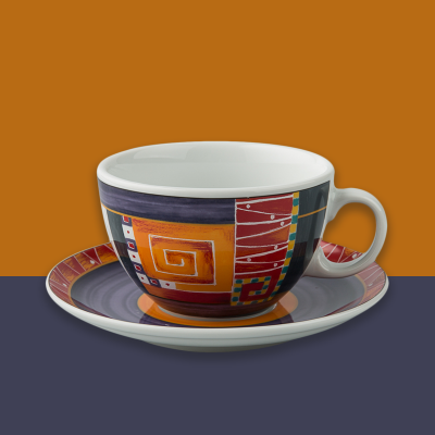 德国原产Seltmann Weiden咖啡杯  陶瓷欧洲几何图形370ml彩色