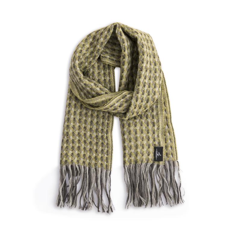 新西兰原产Stansborough指环王系列灰羊毛贝壳杉编织围巾 黄绿