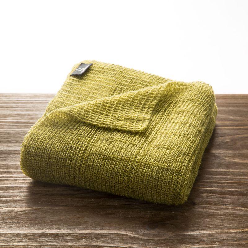新西兰原产Stansborough指环王灰羊毛针织婴儿车毯盖毯 黄绿
