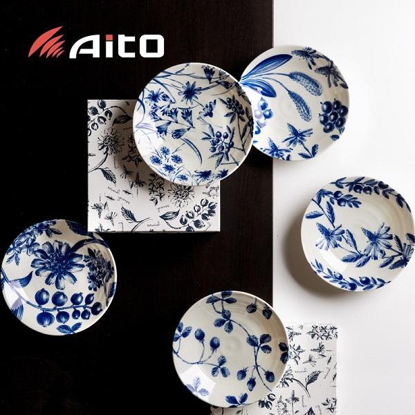 日本AITO美浓烧陶瓷餐盘深口碟餐碟5件套 【Botamical系列】