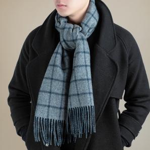 意大利原产MA.AL.BI.双层羊绒围巾男士围巾灰色格子 灰色