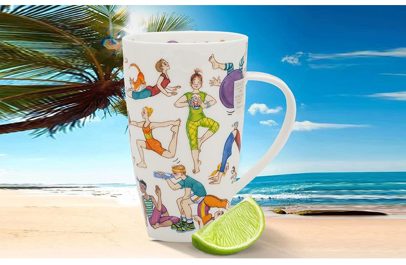 英国丹侬Dunoon骨瓷水杯马克杯茶杯趣味瑜伽