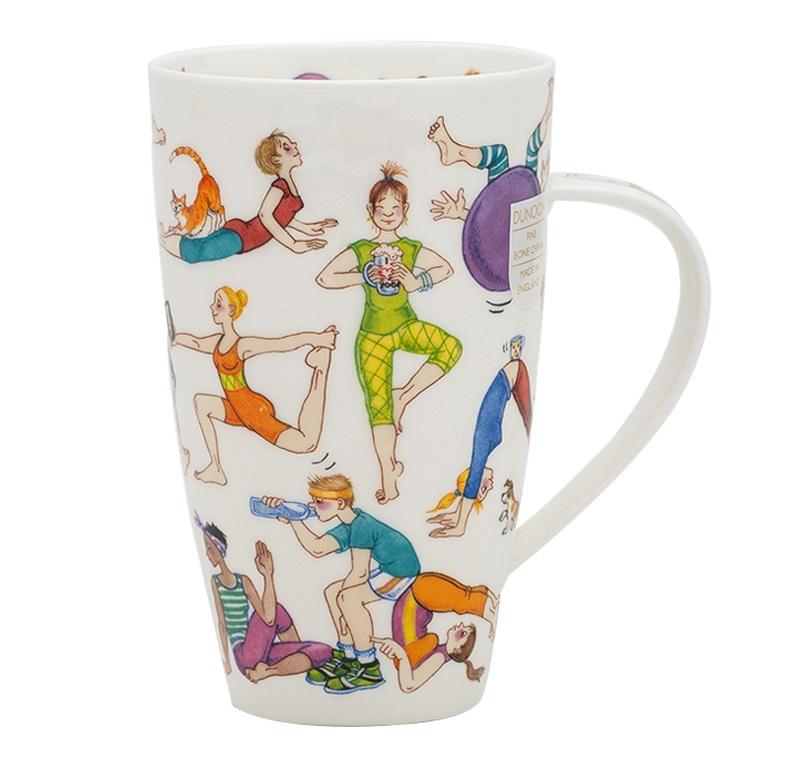 英国丹侬Dunoon骨瓷水杯马克杯茶杯趣味瑜伽杯子图案
