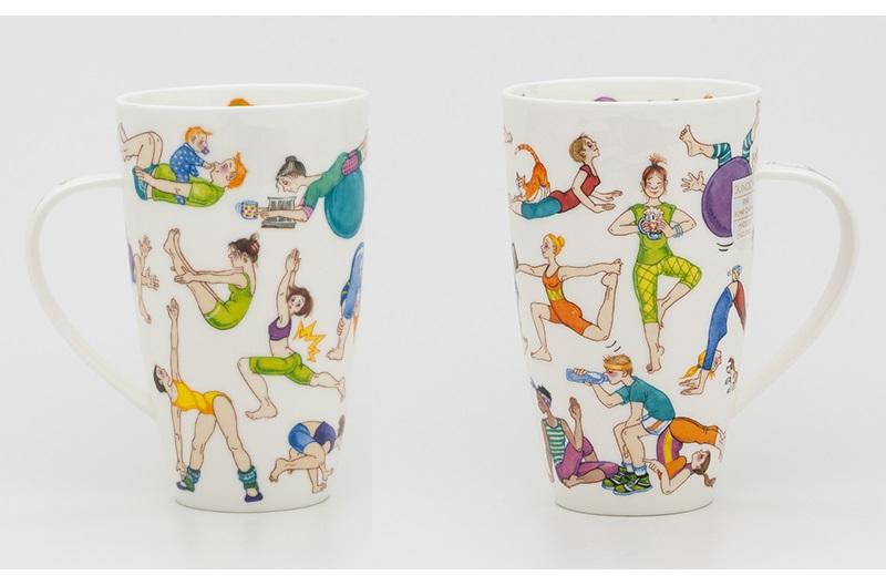 英国丹侬Dunoon骨瓷水杯马克杯茶杯趣味瑜伽杯子正反图案