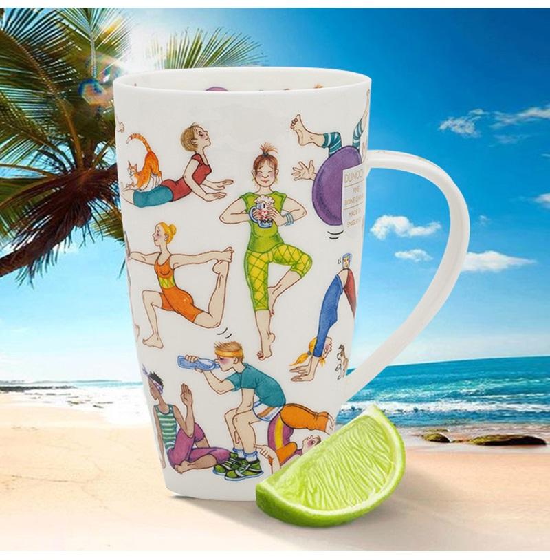 英国丹侬Dunoon骨瓷水杯马克杯茶杯趣味瑜伽情境图