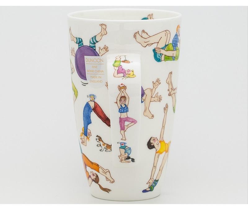 英国丹侬Dunoon骨瓷水杯马克杯茶杯趣味瑜伽杯把图案