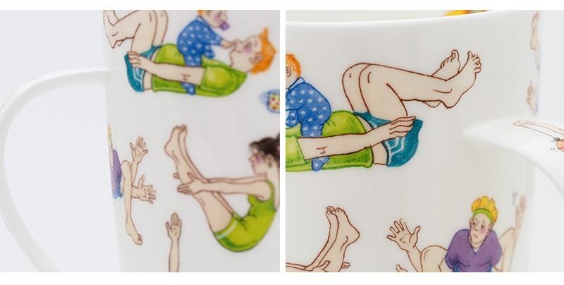 英国丹侬Dunoon骨瓷水杯马克杯茶杯趣味瑜伽细节图案