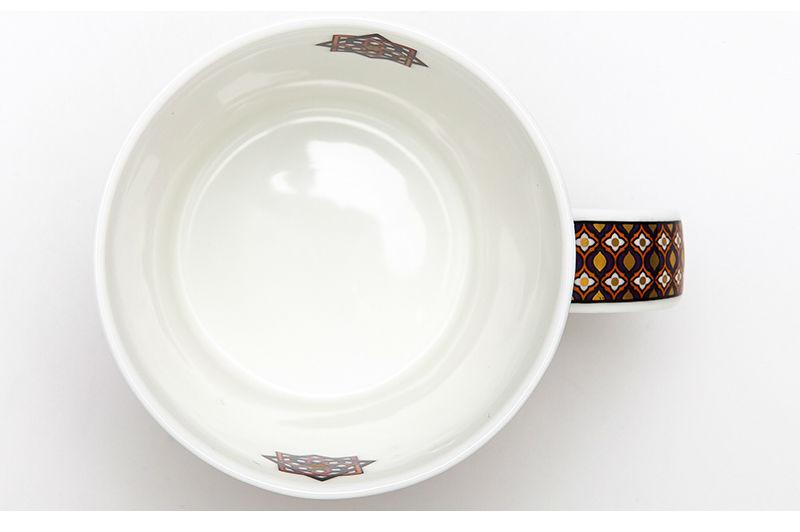 英国丹侬dunoon骨瓷杯波斯风格花朵编结图案马克杯杯口