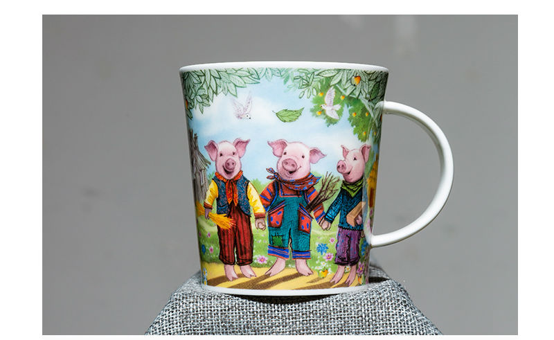 英国丹侬Dunoon骨瓷水杯马克杯茶杯三只小猪水杯