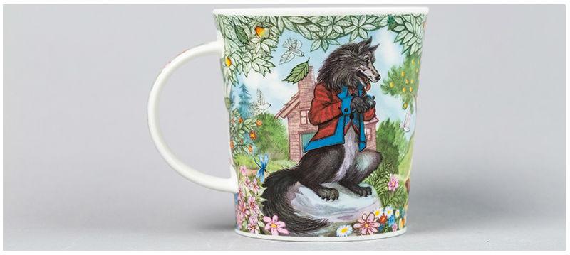 英国丹侬Dunoon骨瓷水杯马克杯茶杯三只小猪水杯反面图案
