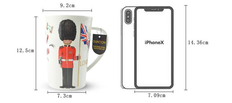 英国丹侬Dunoon骨瓷水杯马克杯茶杯伦敦卫兵骨瓷杯尺寸