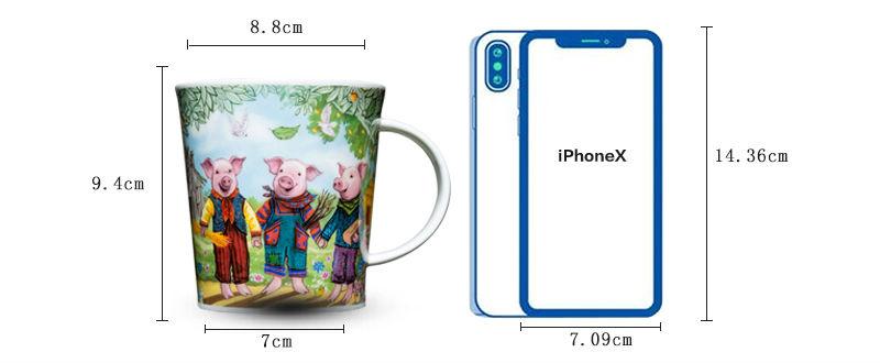 英国丹侬Dunoon骨瓷水杯马克杯茶杯三只小猪水杯尺寸