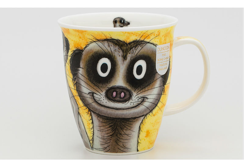 英国DUNOON丹侬骨瓷杯马克杯树獭狐獴水杯一面图案