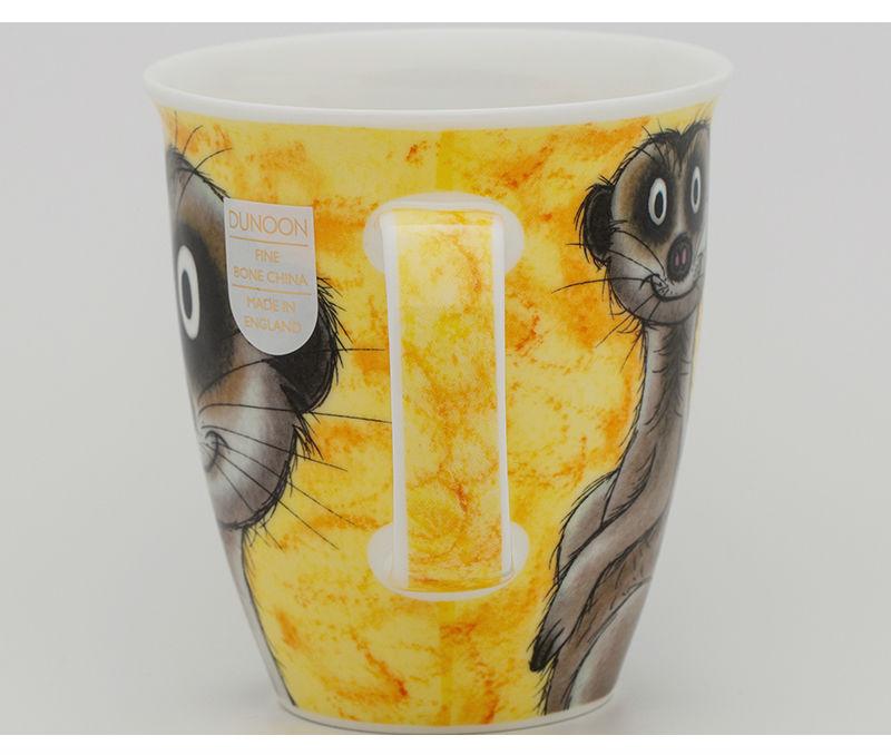 英国DUNOON丹侬骨瓷杯马克杯树獭狐獴水杯侧面图案