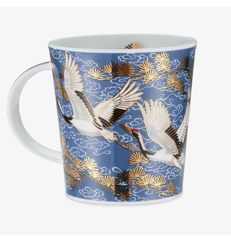 英国丹侬Dunoon骨瓷杯马克杯仙鹤系列水杯一面图案
