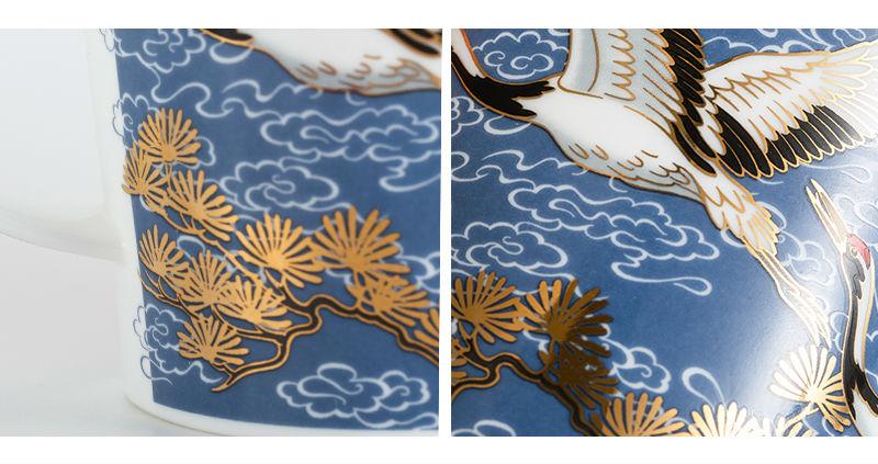 英国丹侬Dunoon骨瓷杯马克杯仙鹤系列水杯细节图案
