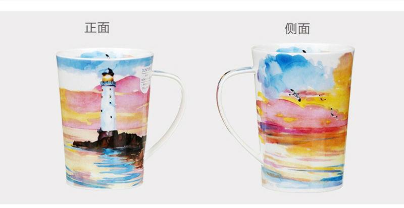 英国丹侬Dunoon骨瓷茶杯马克杯隐居地水杯正面和背面图案